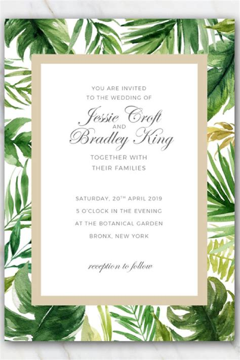tropical stationery template tropical palm tree leaves wedding invitation template