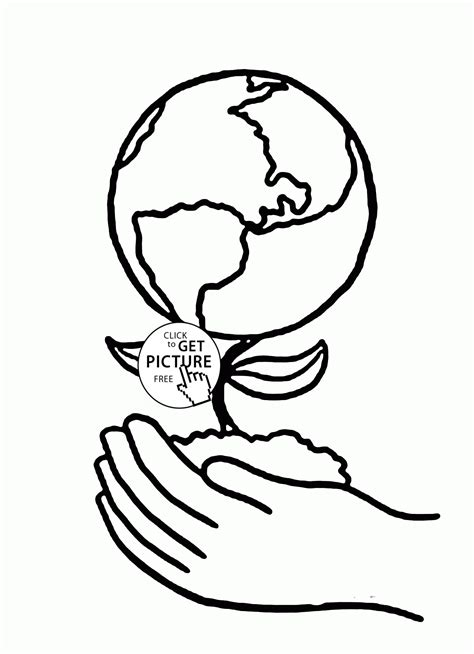 earth plant  hands earth day coloring page  kids