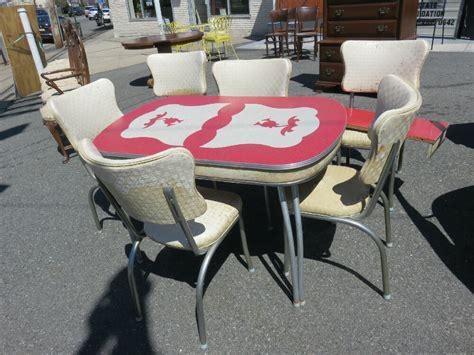 retro kitchen table   chairs  chrome  design top  leaf estate pc ebay