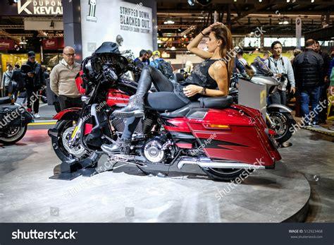 Model Sitting On Saddle Harley Davidson Stock Photo