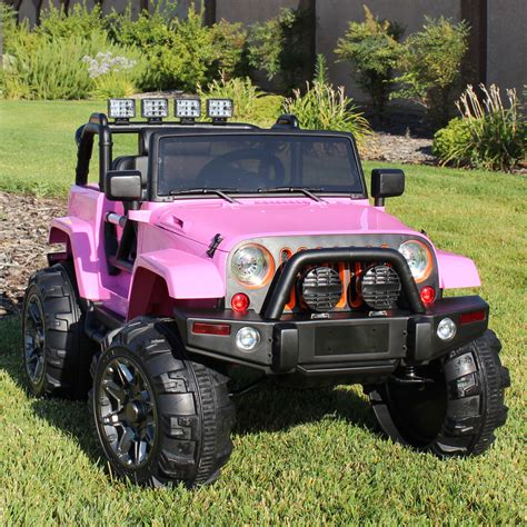 light pink jeep ride on car 12v kids power wheels jeep truck remote