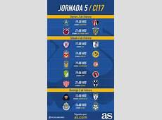 Fechas y horarios de la jornada 5 del Clausura 2017 de la