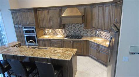 designs for backsplash in kitchen custom stain solarus granite and glazzio tile backsplash 8677