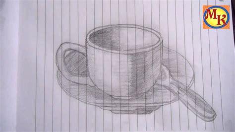 Sketsa gambar dua dimensi garlerisket. cara menggambar cangkir (speed drawing) - YouTube
