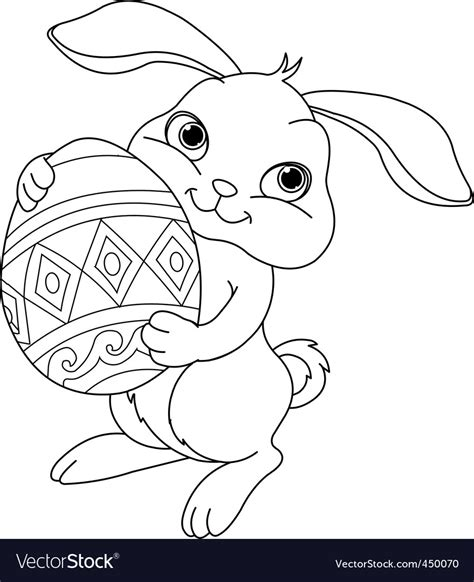 easter bunny coloring page royalty  vector image