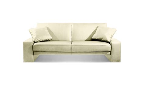 Supra Sofa Bed Settee Faux Leather Cream, Leather Sofas