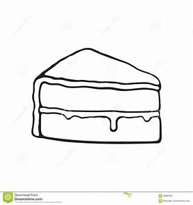 Doodle Of A Piece Of Cake With Glaze Cream Fondant And ...