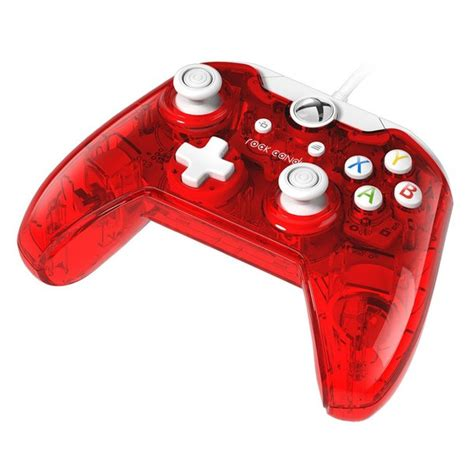 rock candy red wired xbox  controller games accessories