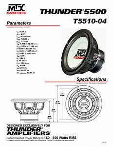 Mtx Thunder 5500 T5510-04 Manuals