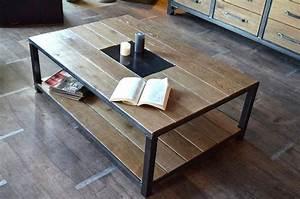 Table Industrielle Bois : table basse industrielle bois vieilli fabrication la demande et sur mesure cr ation et ~ Teatrodelosmanantiales.com Idées de Décoration