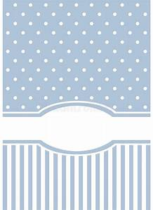 Blank Christmas Invitation Background Blue Card Or Invitation With Strips And White Polka Dots