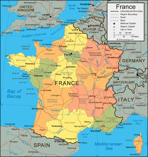 France Map And Satellite Image