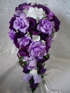 Wedding Bridal Bouquet Cascading Lavender Purple White ...