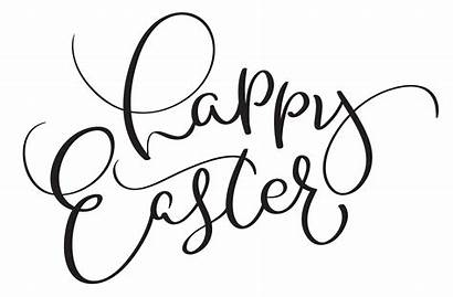 Easter Happy Words Calligraphy Background Lettering Vector