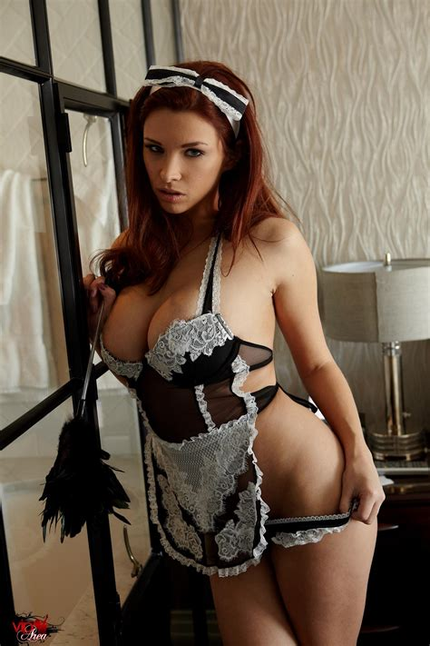 Sabrina Maree in french maid's uniform gets naked in bed - VIP Area