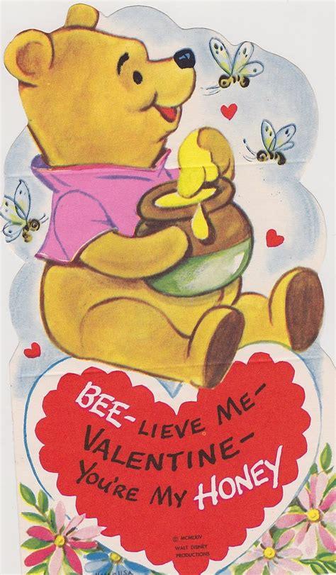 vintage winnie  pooh valentines day card disney