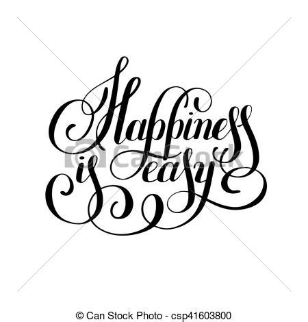 happiness  easy hand lettering positive inscription