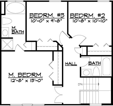 House Plan 57485 Traditional Style with 1292 Sq Ft 3