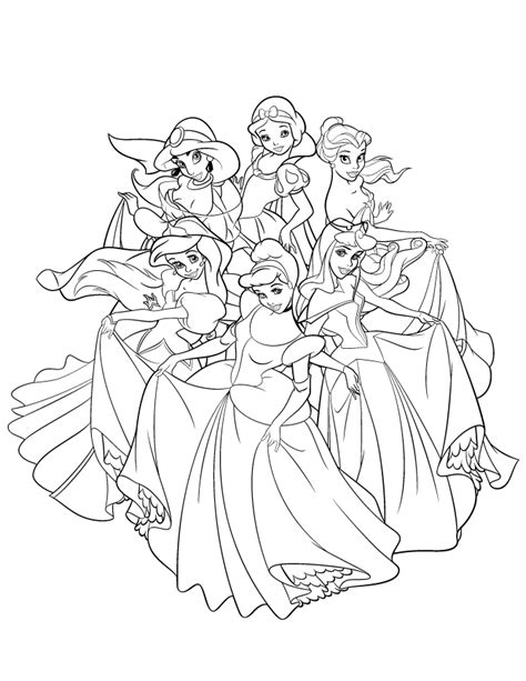 beautiful disney princesses dancing coloring page