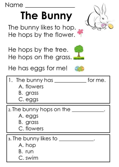 easter reading comprehension passages addition word