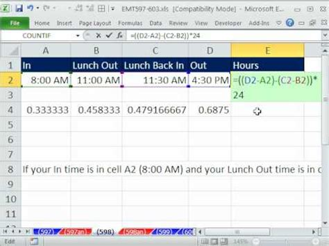excel magic trick  hours worked  day including lunch