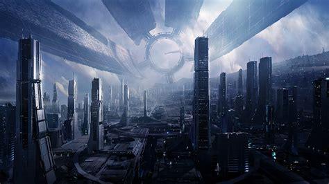 futuristic mass effect citadel space nebula space