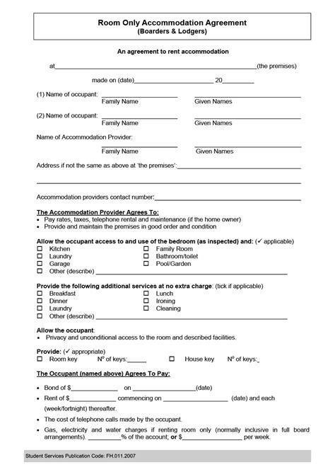simple room rental agreement templates templatearchive