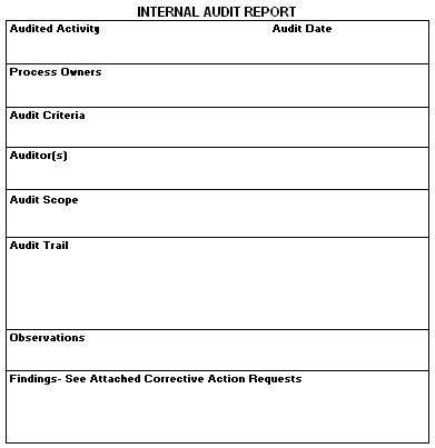 audit report template audit report