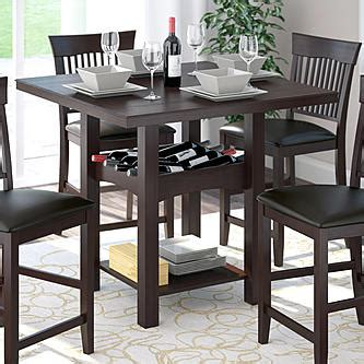corliving bistro  counter height dark cocoa dining table  wine rack home furniture