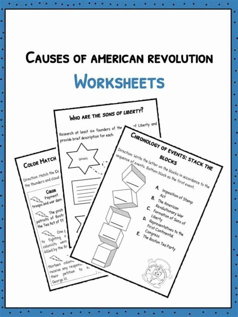 american revolution facts worksheets  kids
