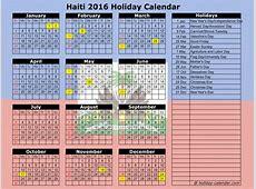Haiti 2016 2017 Holiday Calendar