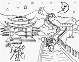 Coloring Pages China Chinese Minion Clipart Wall Drawing Landscape Ninja Printable Beach Paradise Tropical Cool Costume Oriental Scenery Activities Worksheet sketch template
