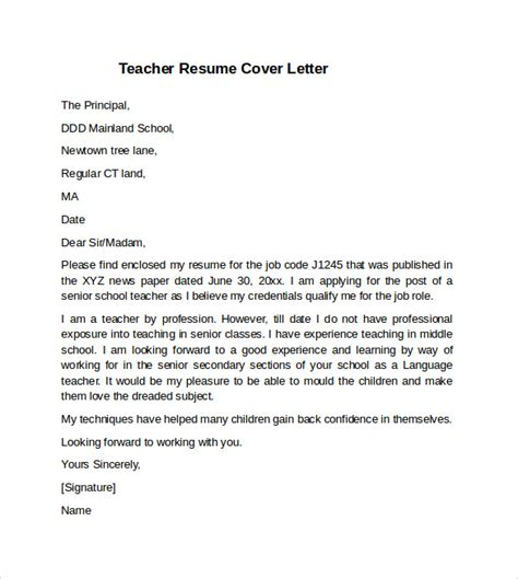 resume cover letter for teachers exles cover letter exle 10 free documents in pdf word
