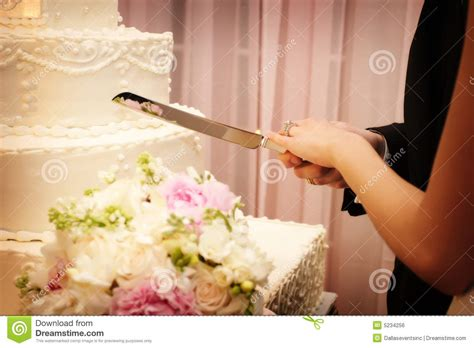 how to cut a wedding cake and groom cutting the wedding cake stock photo
