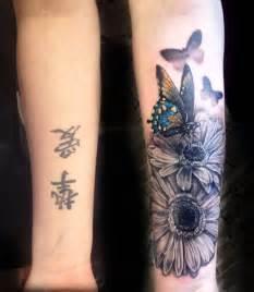 butterfly flowers forearm tattoo tattoo pinterest