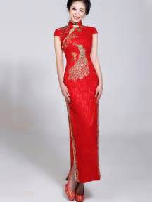 Red Long Cheongsam Qipao Chinese Wedding Dress