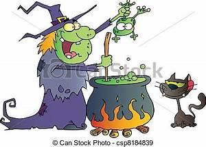Stock Illustratie van gek, heks, met, black, kat kat, Schouwend, een, lelijke, csp8184839