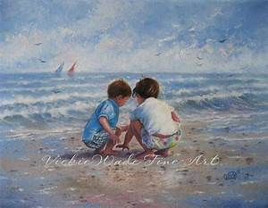 Beach Boy and Girl Art Print beach art beach children