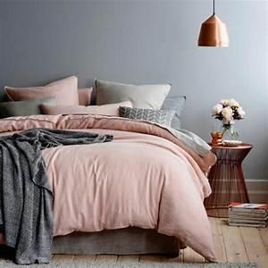 Parure De Lit Rose Et Gris : le linge de lit en lin la parure de lit cosy et naturelle ~ Teatrodelosmanantiales.com Idées de Décoration