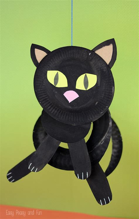 paper plate black cat paper plate crafts  kids easy