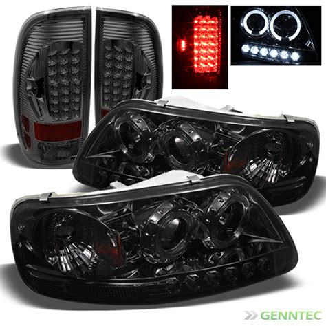smoked headlights and tail lights for smoked 97 03 f150 halo led projector headlights led