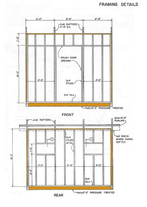 lean  storage shed plans   construct