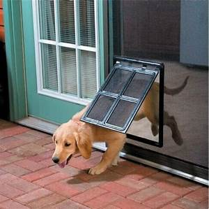 namsan magnetic automatic lock lockable pet screen door With dog door that locks automatically
