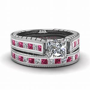 Princess cut cathedral vintage diamond wedding ring set for Princess cut pink diamond wedding rings