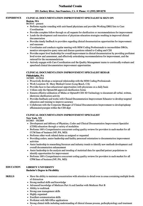 clinical documentation specialist resume clinical data