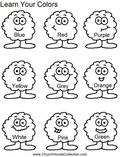 coloring pages learn your colors preschool kids worksheet
