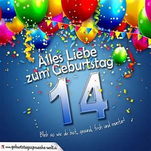 14 Geburtstag Feiern Ideen : geburtstagskarte mit bunten ballons konfetti und luftschlangen zum 14 geburtstag ~ Frokenaadalensverden.com Haus und Dekorationen