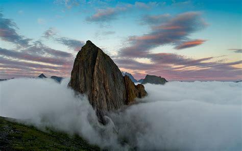 nature landscape summit sunrise mountain clouds