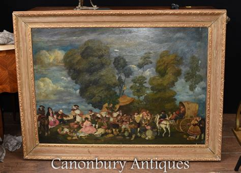 antique english oil painting medieval renaissance country