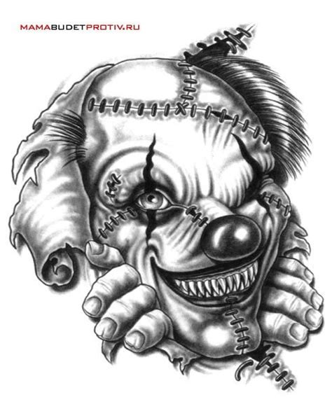 Black And White Monster Clown Tattoo Design | Clown tattoo